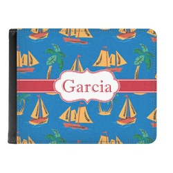 Boats & Palm Trees Genuine Leather Men's Bi-fold Wallet (Personalized)