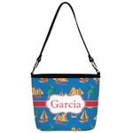 Boats & Palm Trees Bucket Bag w/ Genuine Leather Trim (Personalized)