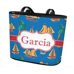 Boats & Palm Trees Bucket Tote w/ Genuine Leather Trim (Personalized)