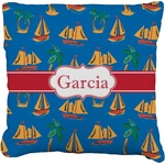 Boats & Palm Trees Faux-Linen Throw Pillow (Personalized)