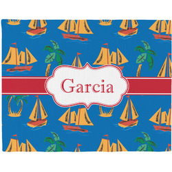 Boats & Palm Trees Woven Fabric Placemat - Twill w/ Name or Text