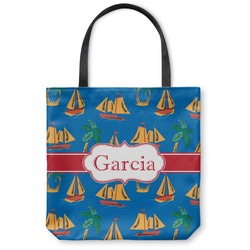 Boats & Palm Trees Canvas Tote Bag (Personalized)