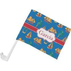 Boats & Palm Trees Car Flag (Personalized)