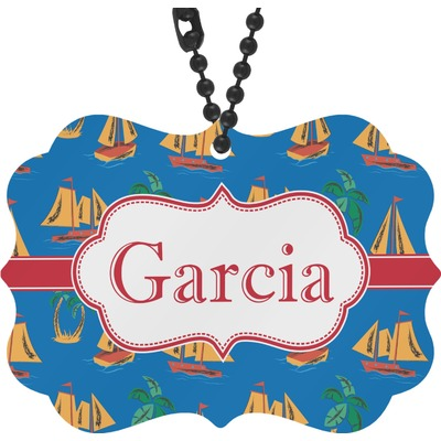 Boats & Palm Trees Rear View Mirror Decor (Personalized)