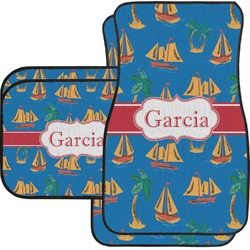 Boats & Palm Trees Car Floor Mats Set - 2 Front & 2 Back (Personalized)