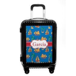 Boats & Palm Trees Carry On Hard Shell Suitcase (Personalized)