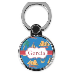 Boats & Palm Trees Cell Phone Ring Stand & Holder (Personalized)