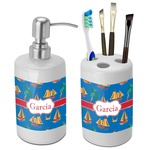 Boats & Palm Trees Bathroom Accessories Set (Ceramic) (Personalized)