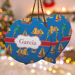 Boats & Palm Trees Ceramic Ornament w/ Name or Text