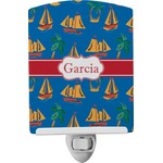 Boats & Palm Trees Ceramic Night Light (Personalized)