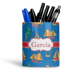 Boats & Palm Trees Ceramic Pen Holder