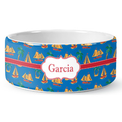 Boats & Palm Trees Ceramic Dog Bowl (Personalized)
