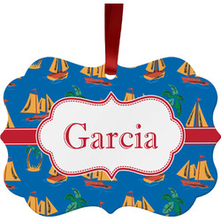 Boats & Palm Trees Ornament (Personalized)
