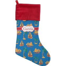 Boats & Palm Trees Christmas Stocking (Personalized)