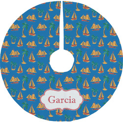 Boats & Palm Trees Tree Skirt (Personalized)