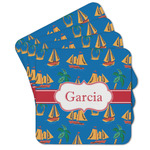 Boats & Palm Trees Cork Coaster - Set of 4 w/ Name or Text