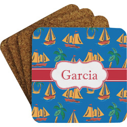 Boats & Palm Trees Coaster Set (Personalized)