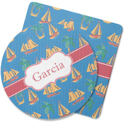 Boats & Palm Trees Rubber Backed Coaster (Personalized)