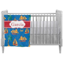 Boats & Palm Trees Crib Comforter / Quilt (Personalized)