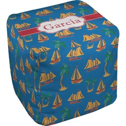 Boats & Palm Trees Cube Pouf Ottoman (Personalized)