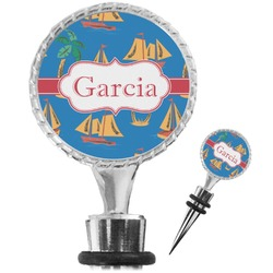 Boats & Palm Trees Wine Bottle Stopper (Personalized)