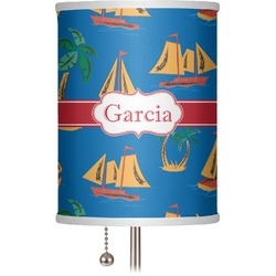 """Boats & Palm Trees 7"""" Drum Lamp Shade (Personalized)"""