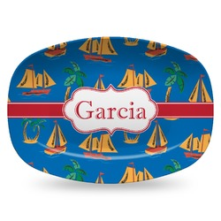 Boats & Palm Trees Plastic Platter - Microwave & Oven Safe Composite Polymer (Personalized)