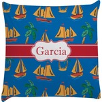 Boats & Palm Trees Decorative Pillow Case (Personalized)