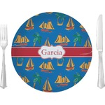 """Boats & Palm Trees Glass Lunch / Dinner Plates 10"""" - Single or Set (Personalized)"""