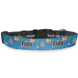 """Boats & Palm Trees Deluxe Dog Collar - Toy (6"""" to 8.5"""") (Personalized)"""