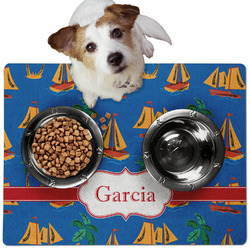 Boats & Palm Trees Dog Food Mat - Medium w/ Name or Text