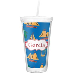 Boats & Palm Trees Double Wall Tumbler with Straw (Personalized)