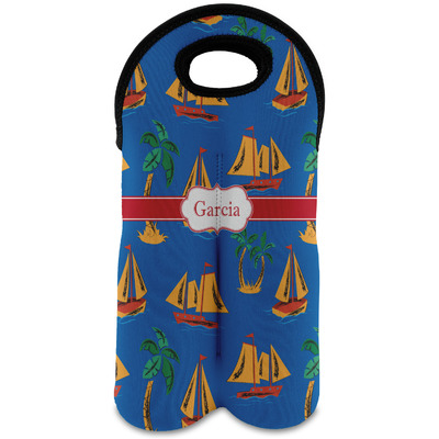 Boats & Palm Trees Wine Tote Bag (2 Bottles) (Personalized)