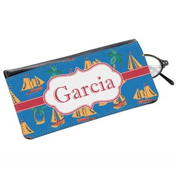 Boats & Palm Trees Genuine Leather Eyeglass Case (Personalized)