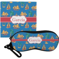Boats & Palm Trees Eyeglass Case & Cloth (Personalized)