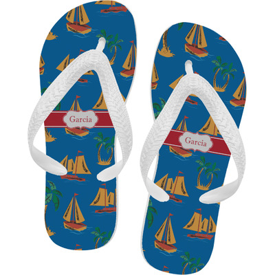 Boats & Palm Trees Flip Flops (Personalized)