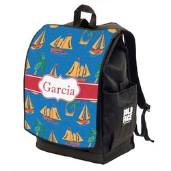 Boats & Palm Trees Backpack w/ Front Flap  (Personalized)