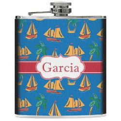 Boats & Palm Trees Genuine Leather Flask (Personalized)