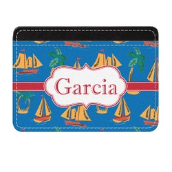 Boats & Palm Trees Genuine Leather Front Pocket Wallet (Personalized)
