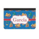 Boats & Palm Trees Genuine Leather ID & Card Wallet - Slim Style (Personalized)
