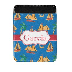 Boats & Palm Trees Genuine Leather Money Clip (Personalized)