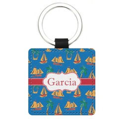 Boats & Palm Trees Genuine Leather Rectangular Keychain (Personalized)