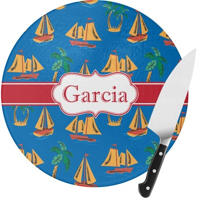 Boats & Palm Trees Round Glass Cutting Board (Personalized)