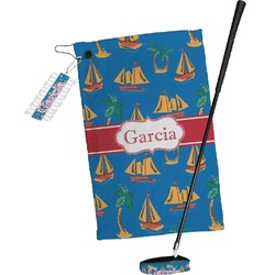 Boats & Palm Trees Golf Towel Gift Set (Personalized)