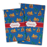 Boats & Palm Trees Golf Towel - Full Print w/ Name or Text