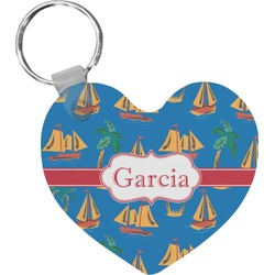 Boats & Palm Trees Heart Keychain (Personalized)