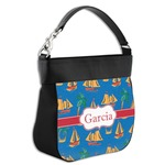 Boats & Palm Trees Hobo Purse w/ Genuine Leather Trim (Personalized)