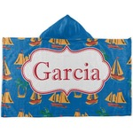 Boats & Palm Trees Kids Hooded Towel (Personalized)