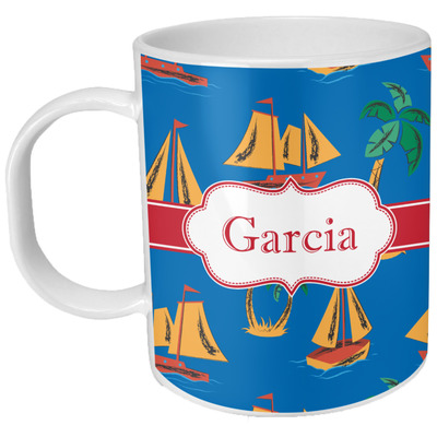 Boats & Palm Trees Plastic Kids Mug (Personalized)