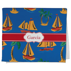 Boats & Palm Trees Kitchen Towel - Full Print (Personalized)